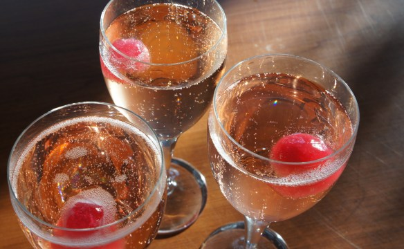 Gem-shaped cranberry ice cubes in sparkling wine -- I'm a sucker for shaped ice cube trays!