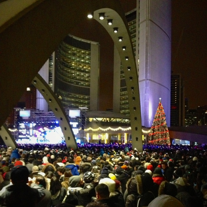 The New Year's Eve crowd in Toronto.