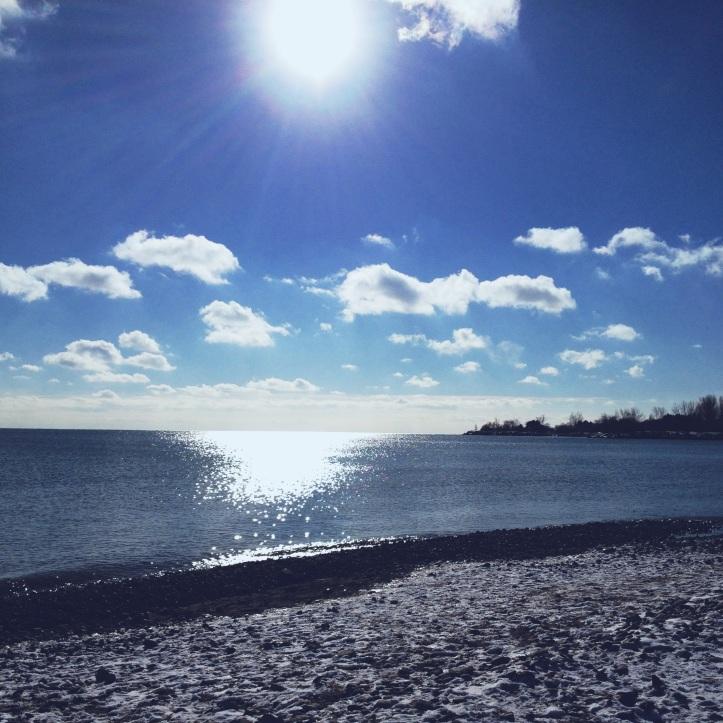 Sunny skies, snowy beach, clear head, happy heart....welcome 2013!