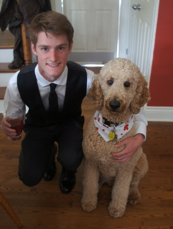 Robbie's dressed for prom and Dunlop's dressed for Canada Day!