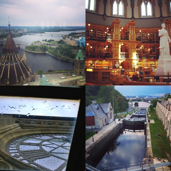 View from the Peace Tower; the beautiful Library of Parliament; under the tower's clock; the locks at the Rideau Canal