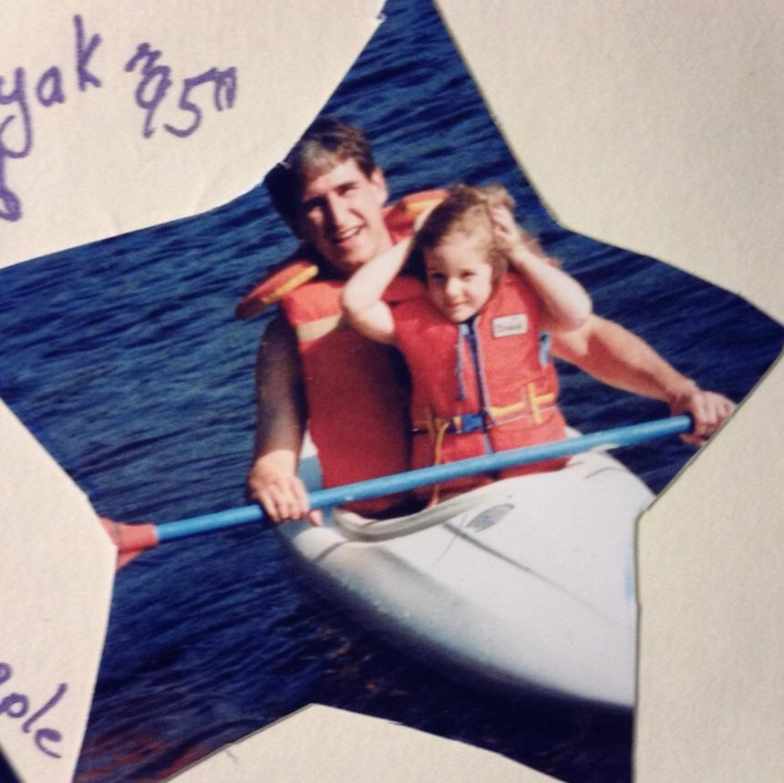 My first time in a kayak,  with Dad, circa 1995.