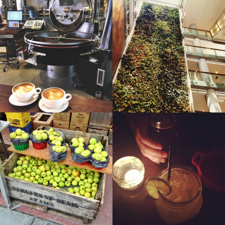 Coffees at Bridgehead's roastery; the University of Ottawa's living wall; apple season at the Byward Market; a wonderful late dinner date at Union 613