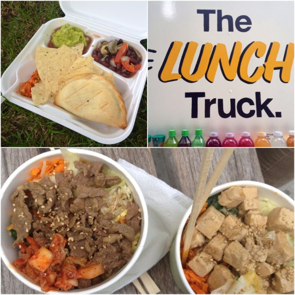 Lunch box from Roya Fruti Cart, The Lunch Truck serves up tasty sandwiches and salads, bowls of bimbimbap from Raon's Kitchen