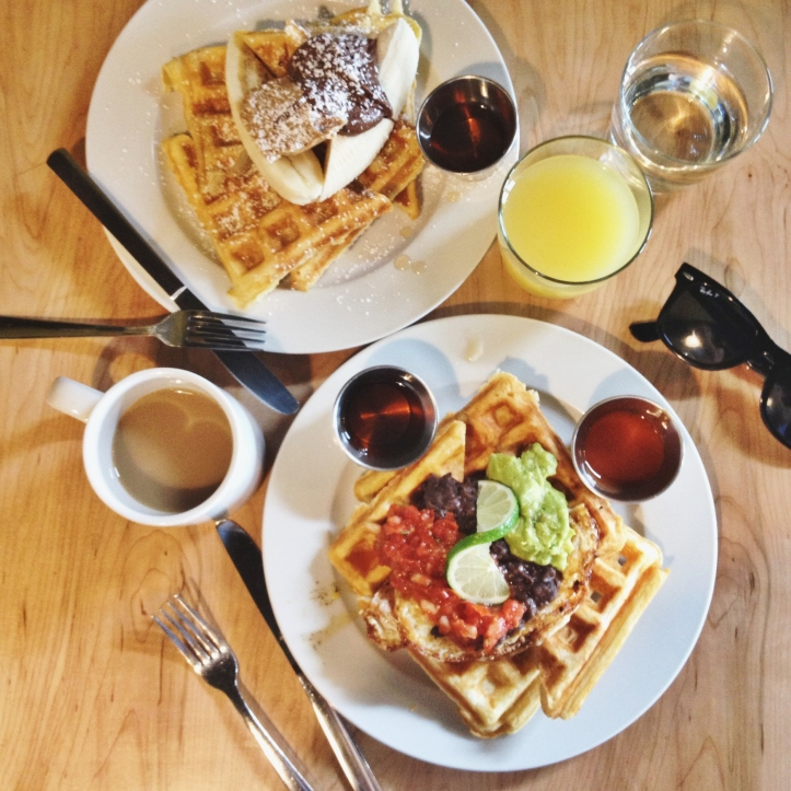 Waffle brunch at Pressed Cafe.