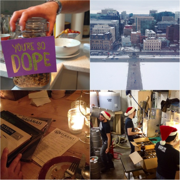 Dope pal/granola, the view from the Peace Tower, old records at the Belmont Snackbar, busy elves at the brewery