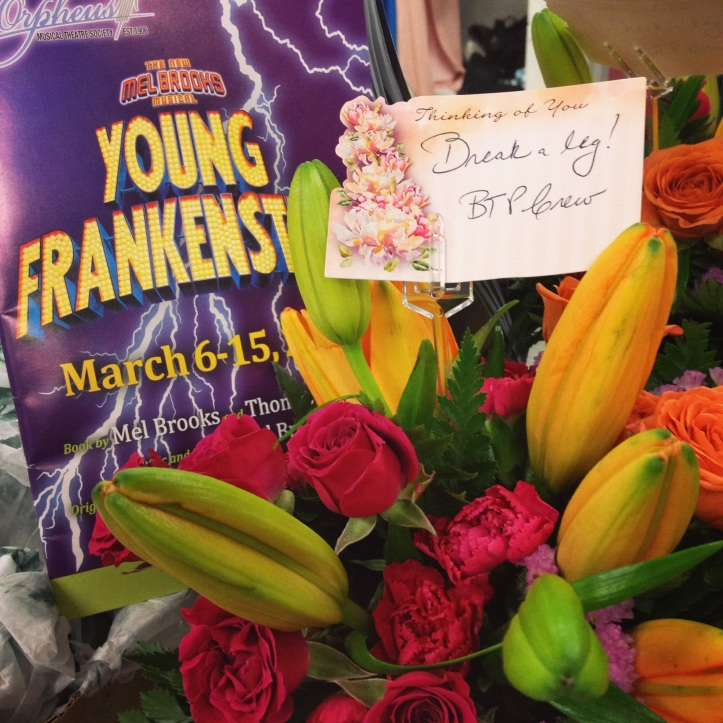 Surprise flowers on opening night from the lovelies co-workers.